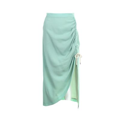 unbalance shirring detail long skirt